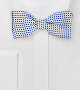 Self Tie Square Patterned Bow Tie in Silver and Blue