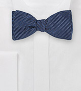 Deep Navy Bowtie with Trendy, Narrow Stripes in Pure Silk