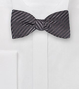 Self-Tied Bowtie in Pewter and Black