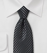Onyx and Smokey Charcoal Striped Necktie in Pure Silk