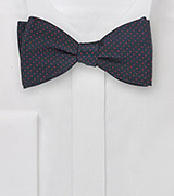 Navy Blue Bow Tie with Coral Pin Dots