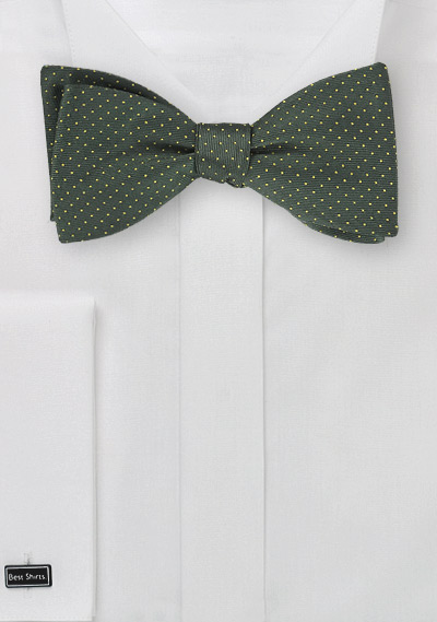 Dark Green Bow Tie with Tiny Yellow Dots