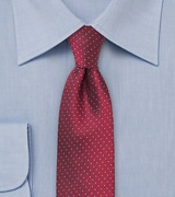 Skinny Silk Tie in Cranberry Red and Light Blue