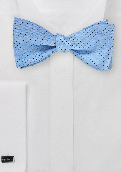 Pin Dot Bow Tie in Sky Blue and Navy