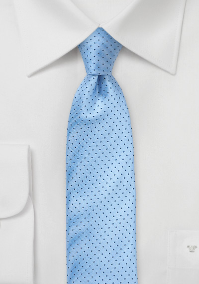 Sky Blue Skinny Tie with Navy Dots