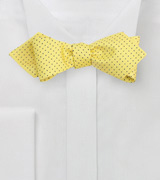 Yellow Pin Dot Bow Tie with Pointed Ends