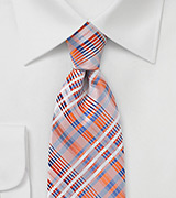 Apricot Orange Summer Plaid Tie