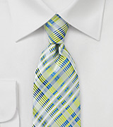 Pastel Green Plaid Silk Tie
