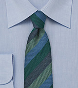Dark Green and Blue Narrow Wool Tie