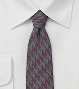Wool Houndstooth Check Tie in Burgundy and Gray