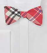 Cotton Plaid Bow Tie in Summer Reds
