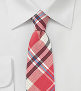 Cotton Plaid Tie in Red, White, and Black
