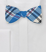 Madras Bow Tie in Royal Blue