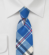 Cotton Plaid Tie in Blue, White, Beige, Red