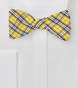 Yellow and Pink Plaid Bow Tie
