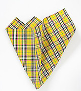 Yellow, Pink, and Gray Plaid Pocket Square