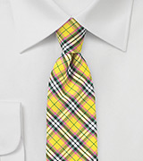 Colorful Yellow Tartan Plaid Cotton Tie