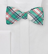 Summer Plaid Bow Tie in Green and Cream