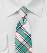 Summer Cotton Tie in Green, Cream, and Blue
