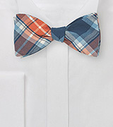 Blue and Orange Plaid Bow Tie