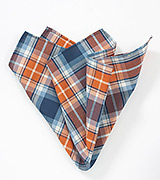 Tangerine and Blue Plaid Pocket Square