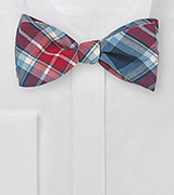 Red and Navy Plaid Bow Tie