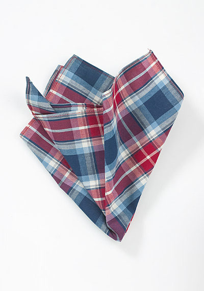 Modern Cotton Pocket Square in Red and Blue