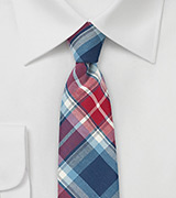 Narrow Cotton Plaid Tie in Red and Blue