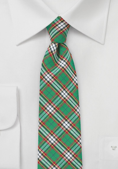 Green and Red Tartan Plaid Cotton Necktie