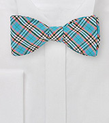 Turquoise Bow Tie with Trendy Plaid Design