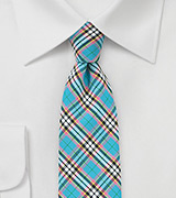 Turquoise Colored Cotton Plaid Tie