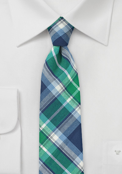 Green and Blue Cotton Plaid Tie