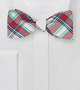 Summer Cotton Bow Tie in Red and Off White