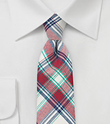 Summer Madras Tie in Red, Cream, Blue, and Green