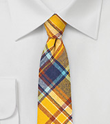 Golden Yellow Flannel Plaid Tie