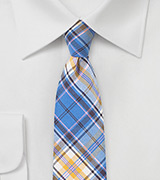 Colorful Summer Cotton Tie in Lavender, Blue, and Golden Tan