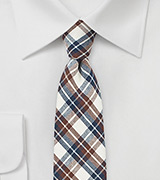Brown, Navy, and Beige Cotton Summer Tie