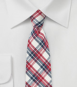 Red, Navy, and Cream Checkered Tie