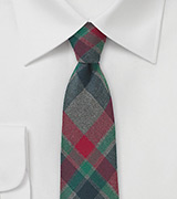 Winter Flannel Necktie in Red, Green, Charcoal