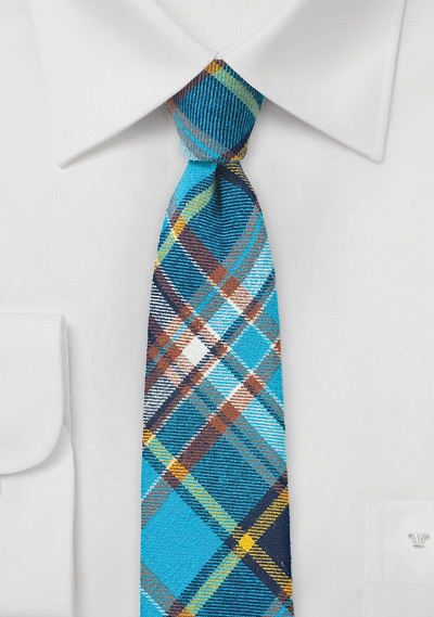 Skinny Flannel Plaid Tie in Turquoise