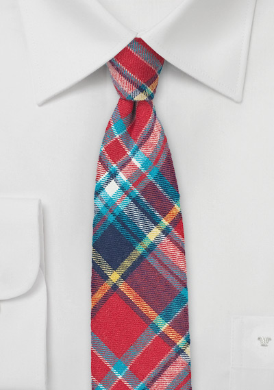Flannel Madras Plaid Tie in Red, Aqua, and Navy