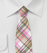 Pink, Tan, and Cream Colored Linen Plaid Tie