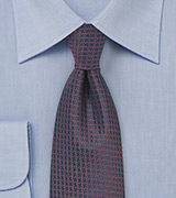 Micro Check Tie in Navy and Copper