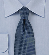Micro Houndstooth Check Tie in Navy