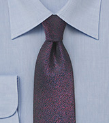 Metallic Sheen Silk Tie in Blue and Red