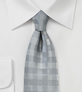 Silver and Gray Gingham Check Tie