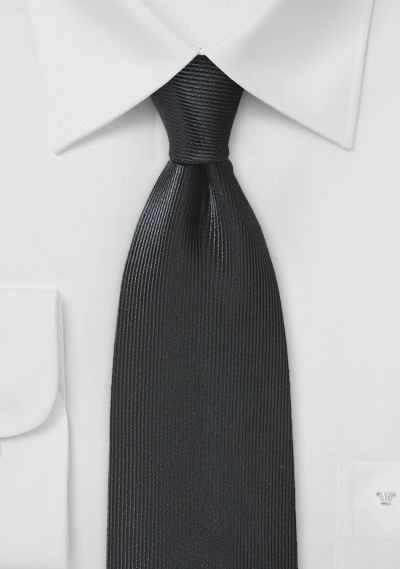Ribbed Textured Silk Tie in Jet Black