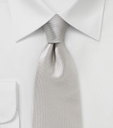 Platinum Silk Tie with Vertical Ribbs