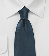 Ribbed Texture Silk Tie in Dark Navy