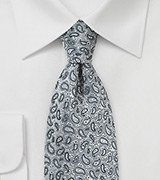 Micro Paisley Tie in Dove Gray
